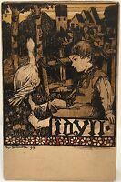 Germany Artist Signed Postcard ~ Idyll by RD Schestl 1899  Boy & Goose In Garden