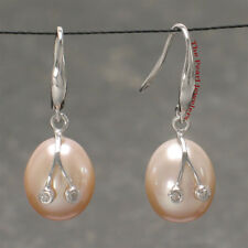 14k Solid White Gold 2 Diamond Pink Pearl Earrings & Pendant Necklace TPJ