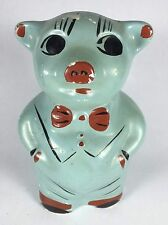 Vintage Blue / Green Painted Chalk Chalkware Plaster Piggy Pig Bank - No Stopper