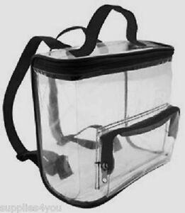 CLEAR Backpack Bag Purse Tote Vinyl Black Small Mini Kid Light Stadium Cosmetic
