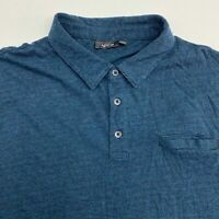 Apt. 9 Polo Shirt Mens Size 2XL XXL Short Sleeve Blue Black Striped Cotton Blend