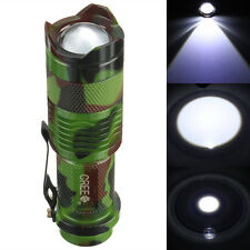 Mini CREE Q5 2000 Lumen LED Three Mode Zoomable Flashlight Torch Light Camo
