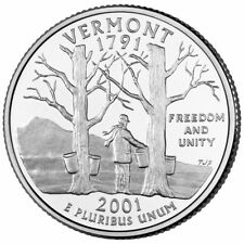2001 P Vermont State Quarter, BU Coin, Clad. Finish Your Book #1158