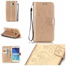 Floral Flip Card Wallet PU Leather Magnetic Stand Case Cover For Samsung Galaxy