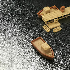 Outland Models Railroad Scenery Boat Set with Small Dock / Pier Z Gauge 1:220