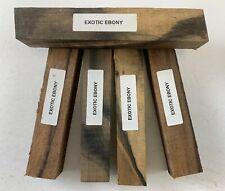"""(5) LOT OF 5,  EXOTIC EBONY PEN BLANKS WOOD TURNING SQUARE   3/4"""" X 3/4"""" X 5"""""""