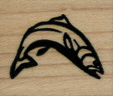 """mounted  rubber stamps  Fish Jumping small size wood mount  1 1/4"""" X 1 1/2"""""""