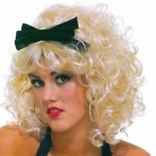 Blonde Curly Wig Short 80's Material Girlie 1980s Fancy Dress Retro Wig with Bow