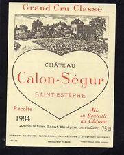 SAINT ESTEPHE 3EME GCC ETIQUETTE CHATEAU CALON SEGUR 1984 75 CL       §10/02/18§