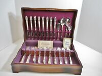1847 ROGERS BROS 52 pc Silverplate First Love Silverware Flatware in Wood Case