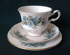 QUEEN ANNE FINE BONE CHINA TEA SET TRIO TEACUP SAUCER SIDE PLATE BLUE & YELLOW