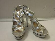 WOMENS H BY HALSTON SILVER SYNTHETIC DOUBLE ANKLE STRAP SANDAL HEELS SIZE 6M
