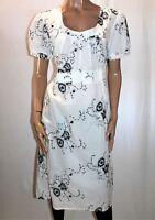 L. LINDA Brand White Embroidered Short Sleeve Day Dress Size 10 BNWT #TK100