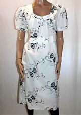 L. LINDA Brand White Embroidered Short Sleeve Day Dress Size 10 BNWT #TK100