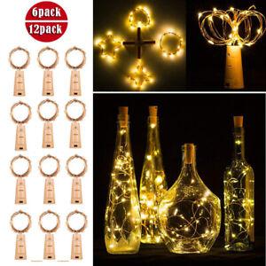 20LED Flaschenlicht Lichterkette Draht Beleuchtung Weinkorken Korken Batterie DE