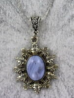 Blue :Lace Agate Gemstone Pendant Necklace in Silver Plated Setting W Chain
