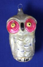 Vintage Christmas Ornament Owl Germany Glass Bird Animal Gold Tone Pink Red Old
