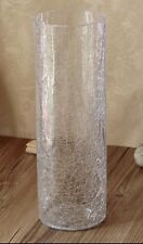 CLEAR CRACKLE GLASS CYLINDER VASE ORNAMENT 40cm Tall