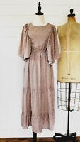 The Vintage Flutter Sleeve Dress M Medium Calico Floral Print Vintage Style NWT