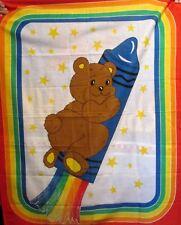 Vtg 80s RAINBOW TEDDY BEAR baby crib cotton fabric panel 35x45 Rocket Crayon