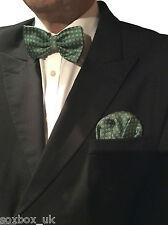 Mens Formal Bow Tie Ready Made Pocket Hankerchief Set Polka Dot Green
