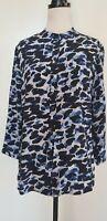 PERRI CUTTEN Black/Blue Animal Print Silk Blouse/Top/Shirt Size 12