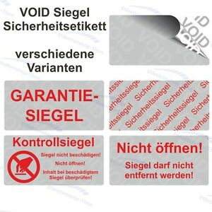 VOID Siegel Sicherheitsetiketten / Aufkleber auf Rolle - 28 x 14 mm - silber