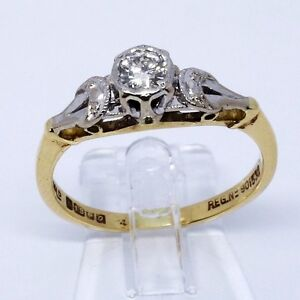 18ct Gold Diamond Solitaire Vintage Ring | 1960s | UK Size M1/2