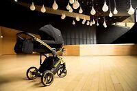 Premium Junama Diamond S Gold Black Baby Pram Stroller Pushchair Travel System