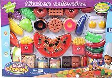 Vinsani Childrens Kitchen Food Cooking Pretend Play Set 35 Pieces Under 3 Year