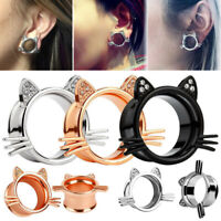 Cute Cat Face Crystal Ear Gauges Flesh Tunnels Plugs Stretchers Expander Girl