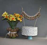 Birthday Banner cake 18th 21st 30th 40th 50th 60th 70th 80th Hessian Bunting