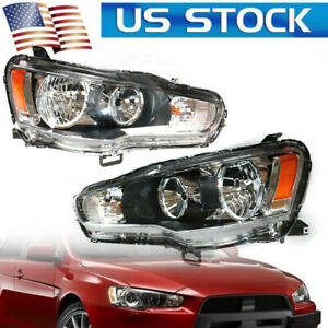 For Mitsubishi Lancer EVO 2008-17 Pair of Headlights Halogen Headlamps Assembly
