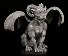 Gargoyle Figur mit Widderhörnern - Teufel Widder Dämon Speier Statue Fantasy