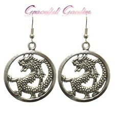 Er2593 Graceful Garden Chinese Style Antique Silver Tone Round Dragon Earrings