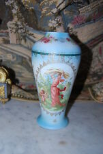 RARE OLD TAPESTRY VASE DONE WITH  A NEOCLASSICAL FIGURE AND CHERUB  & FLOWERS