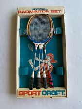 Sport Craft vintage Official Badminton set   4 Rackets & Box