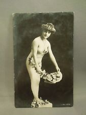 Antique 1909 German Pin Up Girl with Flowers Glossy Postcard -Rotophot Postcard