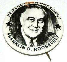 1944 Franklin D Roosevelt FDR campaign pin pinback button political presidential