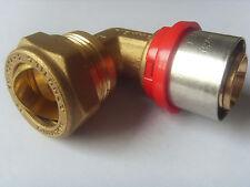 Pressfitting Winkel für Alu Verbundrohr 26 x 22 mm Klemmring DVGW