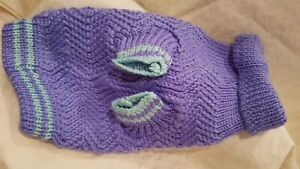 Dog Sweater Size Small knit 10 inch Lavender