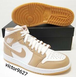Nike Air Jordan 1 Mid Hemp Tan Gum White 554724-271 Mens Size 8=Womens Size 9.5