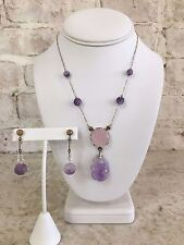 14KYG Victorian Carved Amethyst and Quartz Necklace and Earring Set