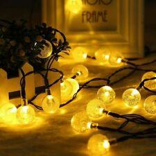 30 LED Solar Garden Crystal Ball String Lights Waterproof Warm White Light Patio