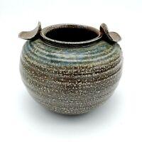 Vintage Studio Pottery Vase Bowl Crock Pot Brown Glaze signed Branman Beautiful!