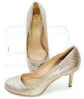 Vince Camuto Sariah Pump Women's 7.5 M Gold Glitter Round Toe Slip On Heel Shoes
