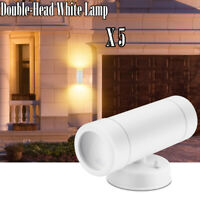 5Pcs LED Wall Light Modern Up Down Double Sconce Lamp Outdoor Patio Porch White