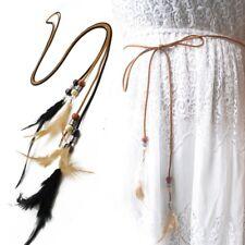 Women Waist Strap Feather Beaded Rope Belt Self-Tie Skinny Waistband Accessories