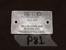 Jeep Willys CJ2A early 45-46 Chassis data plate R1057 (P81)