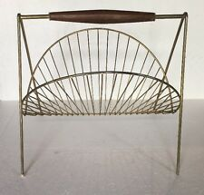 Brass Magazine Rack vintage Mid Century Modern Teak Handle Clam Shell Design